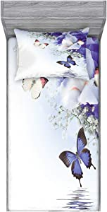 Lunarable Butterfly Fitted Sheet & Pillow Sham Set, Butterflies Sailing on Sea Major Colorful Iris Flowers Fairytale Inspired, Decorative Printed 2 Piece Bedding Decor Set, Twin, Dark Lavender