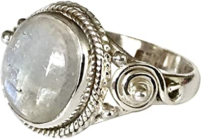 925 Solid Sterling Silver RAINBOW MOONSTONE Gemstone Ring Choose Size Best Gift