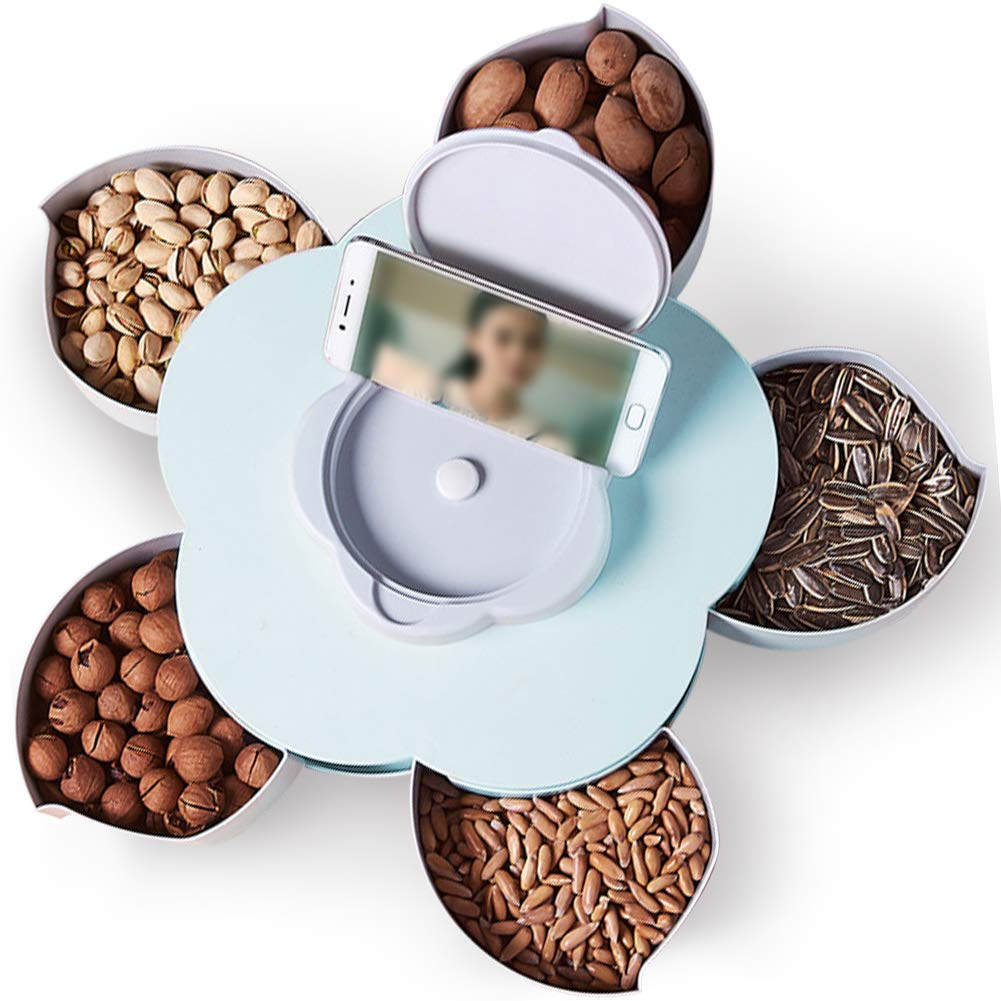 TINTON LIFE Funny Petal-Shaped Rotating Snack Serving Tray Sectional Candy Nut Box Party Snack Tray with Phone Holder(Blue)