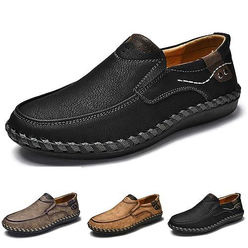 0616f471e2ceff ZHShiny Herren Leder Business Schuhe Casual Mokassins Männer Slip on  Anzugschuhe Schwarz Flache Slipper Büro Freizeit