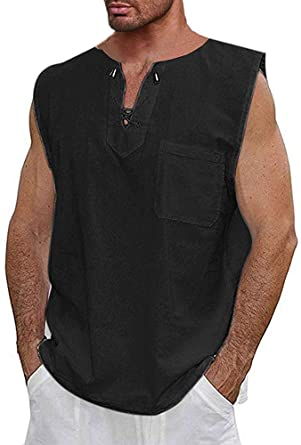 Mens Tank Tops Sport Casual Vest Striped Top Summer Sleeveless Loose Tees Shirt