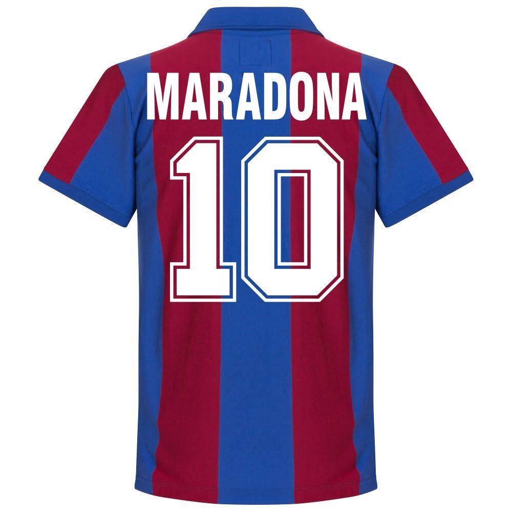 80 – 81バルセロナホームレトロシャツ+マラドーナ10 B06WRTT5MZX-Large