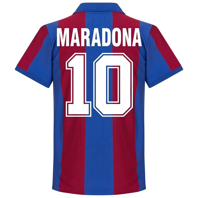 80-81 Barcelona Home Retro Trikot + Maradona 10 - XXL: Amazon.de ...