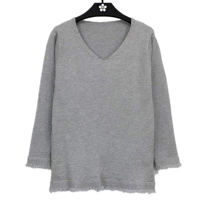 JYC Jersey para Mujer, Suéter Suelto Jumper Tops de Punto, Mujer Largo Manga Cuello en V Borla Depunto Suéter Saltador Pull-Over Camiseta Tops: Amazon.es: ...