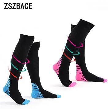 ZSZBACE Calcetines de compresión para Mujeres y Hombres (1 Pares) Medias de compresión para Deportes, Correr, médico, Crossfit y Viajes.