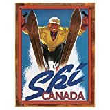 Wood-Framed Ski Canada Metal Sign: Travel Decor Wall Accent for kitchen on reclaimed, rustic wood