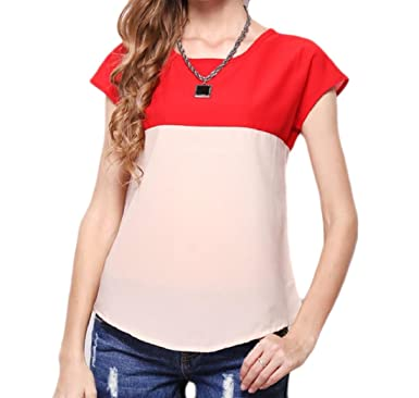 057d74d29ca605 YUNY Womens Spell Color Blouse Relaxed-Fit Plus Size Chiffon Simple T-Shirts  Five