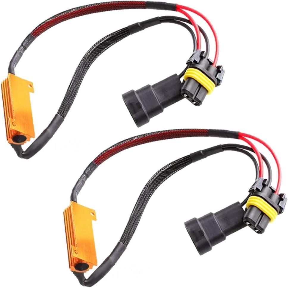 Pack of 2 9005 HB3 50W 6Ohm LED Light Bulb Load Resistor Adapter Decoder Equalizer Warning Canceller Fix Flashing//Flickering//Blinking Error Free For Headlight Fog Light DRL Turn Single Light