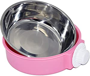 ZOHOKO Dog Bowl Feeder Pet Puppy Food Water Bowl, 2-in-1 Plastic Bowl & Stainless Steel Bowl, Removable Hanging Cat Rabbit Bird Food Basin Dish Perfect for Crates & Cages