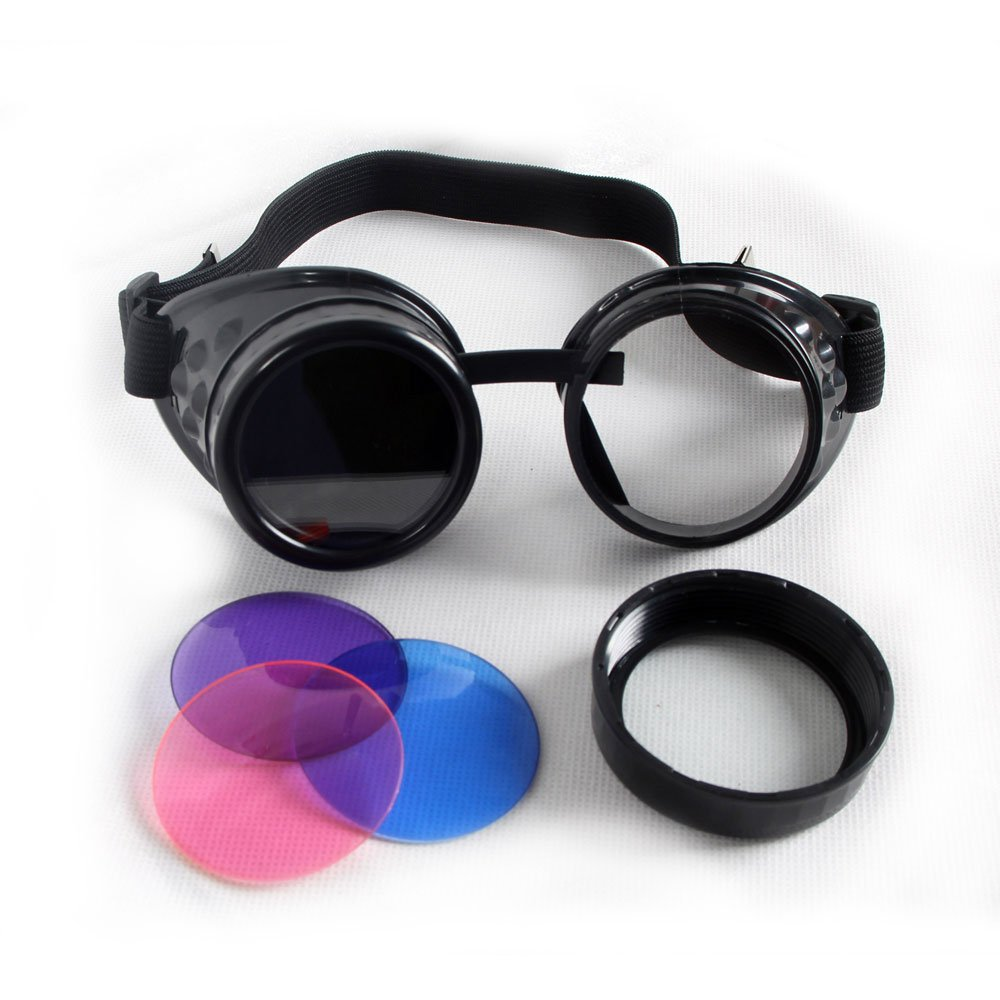 100% New ABS Costume Props Cosplay Equipment Vintage Steampunk Goggles Glasses Welding Punk Gothic (Black Frame)