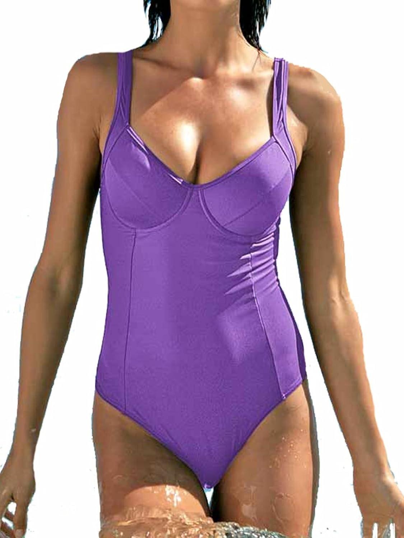 Heine Damen-Badeanzug Optimizer-Badeanzug lila D-Cup in Größe 36 Polyamid Violett