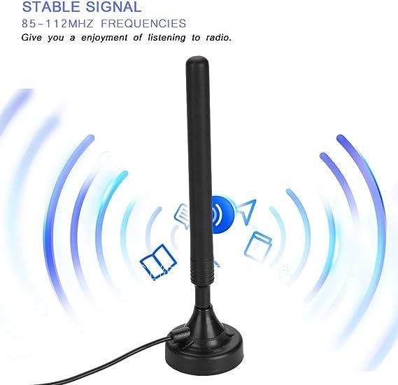 Amplificador De Señal De Antena de radio FM de alta ganancia de 25dB para el hogar USB de baja sensibilidad Adecuada para pisos bajos negro con plug ...