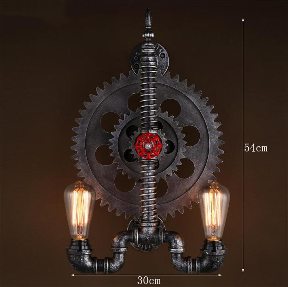 HOMEE Wall lamp- double iron wall creative personality study mechanical gear restaurant bar industrial style wall --wall lighting decorations by HOMEE