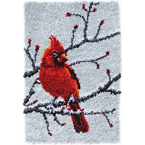 "Wonderart Classics Cardinal Latch Hook Kit, 20"" x 30"""