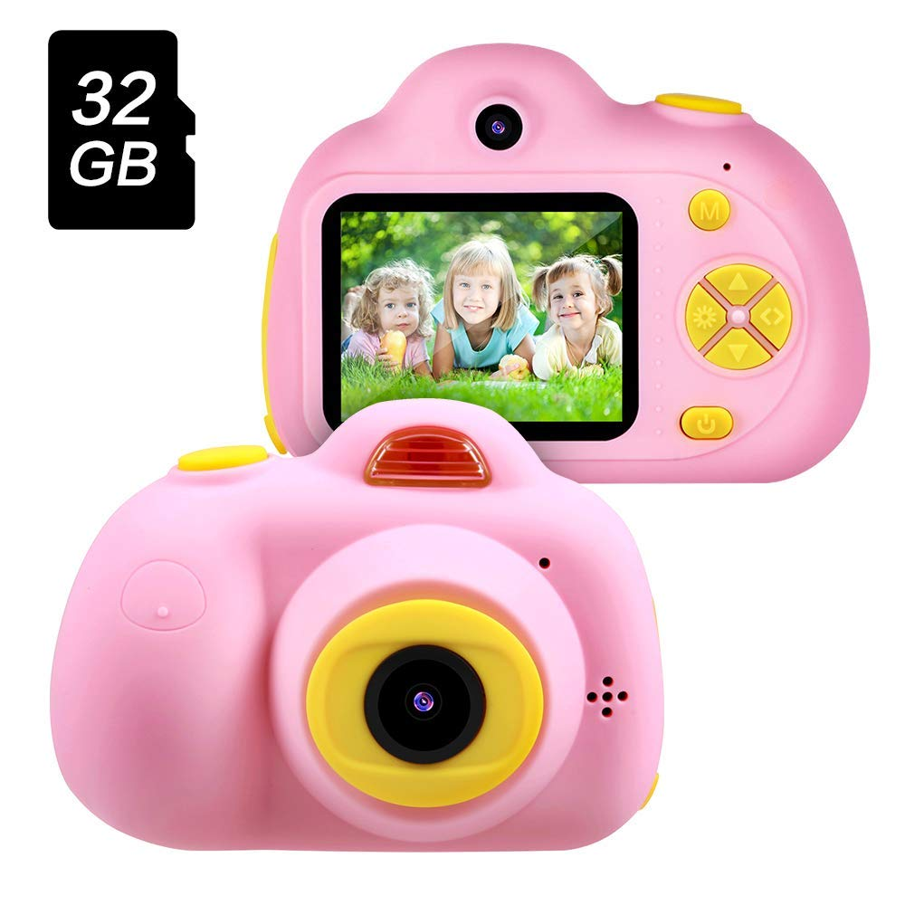 SHCY Best Gift for 3-8 Year Old Kids, Kids Camera for Girls, Outdoor Toys for 4-7 Year Old Girls Boys Children,8MP HD Video Camera, Pink(32GB SD Card Included)