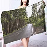 AmaPark Microfiber Towels The Asphalt Road to The Depths of The Woods Multipurpose, Quick Drying L39.4 x W19.7 INCH
