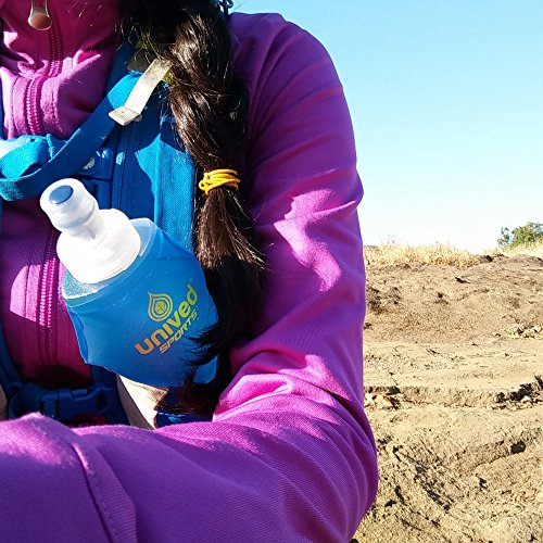 Unived RRUNN Soft Flask, Soft Collapsible Hydration Water Bottle, Lightweight and Compact for use in Hydration Vests for Running, Hiking, and all Outdoor Sports