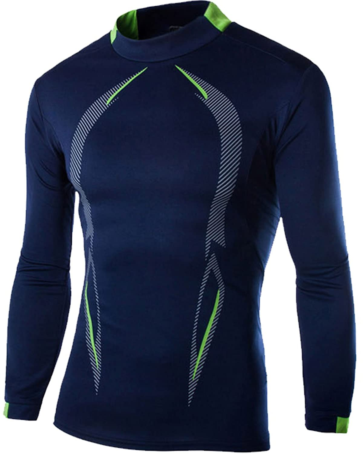 SWORLD Men's Long-Sleeve Compression Tight Base Layer Breathable Shirt