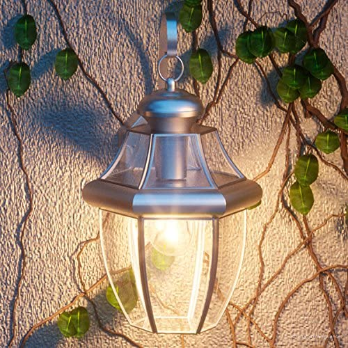 Luxury Colonial Outdoor Wall Light, Medium Size 14 H x 8 W, with Tudor Style Elements, Versatile Design, Classy Aged Silver Finish and Beveled Glass, UQL1143 by Urban Ambiance