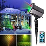 landscape lights,Christmas Laser Light, Christmas Projection Light IP65 Waterproof Outdoor Landscape Light RF Remote Control 24 Pattern Dynamic Static Holiday Party Lights(Red/green light) (Black01)