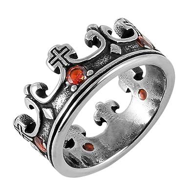 Amazon.com: HZMAN - Anillo de acero inoxidable con corona de ...