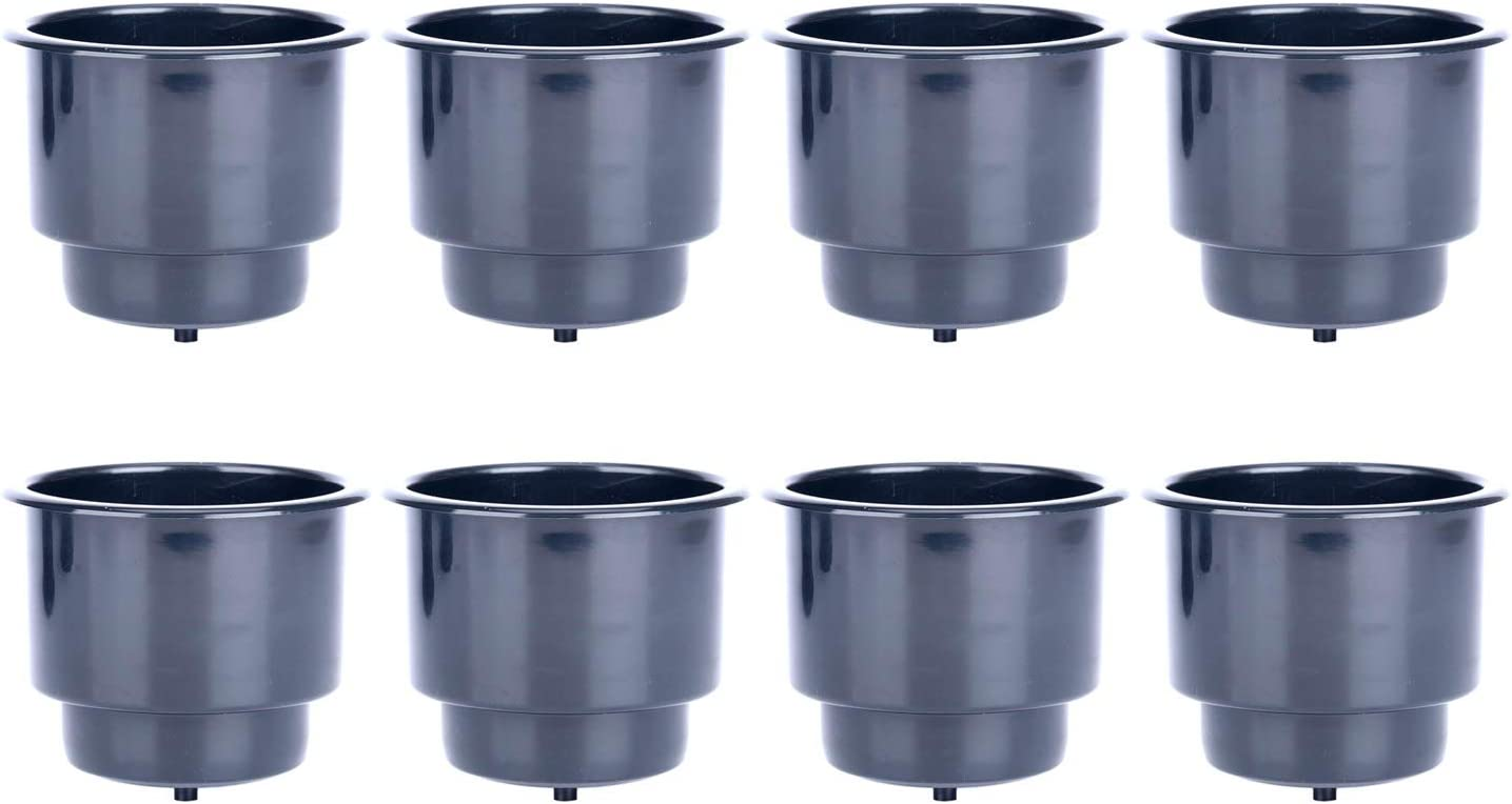 10 pack, Black DasMarine Recessed Plastic Cup Drink Can Holder with Drain for Boat Truck Car and More