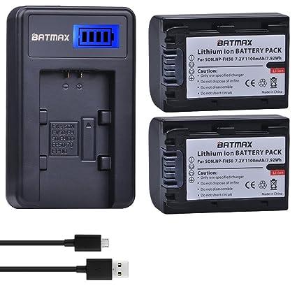 Amazon.com: Batmax - Pack de 2 baterías NP-FH50 + cargador ...