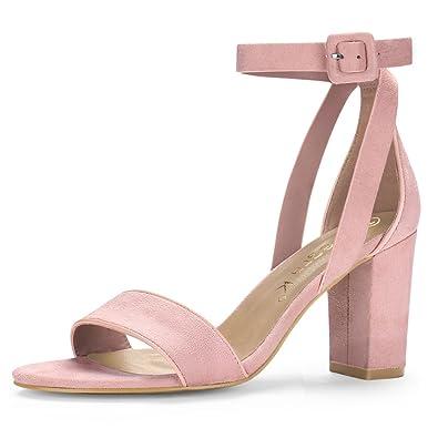 92f5b60bc1f Allegra K Women s PU Panel High Heel Ankle Strap Sandals Light Pink 3.5  UK Label