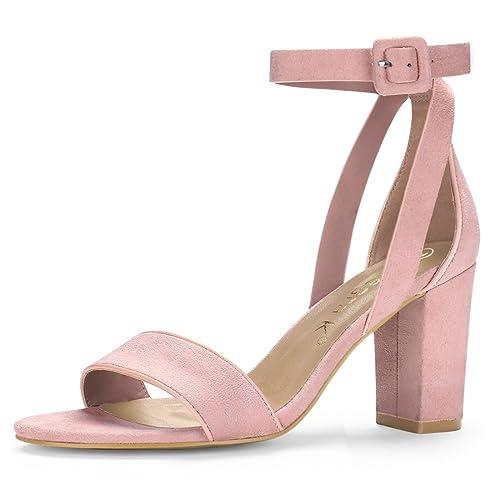 809bfd562557 Allegra K Women s PU Panel High Heel Ankle Strap Sandals (Size US 5.5) Light