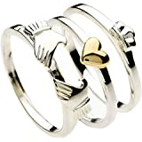 Silver and Gold 3 Piece Stacking Claddagh Ring. Gift Boxed. Celtic Jewellery