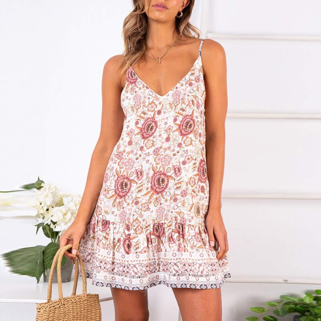 Womens Halter Boho Holiday Beach Mini Ladies Floral Ruffled V-Neck Party Dress