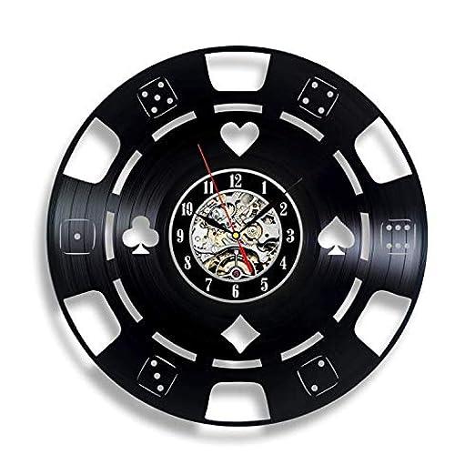 AIYOUBU Poker Chip y Tarjetas Vinyl Record Clock - Regalo de ...