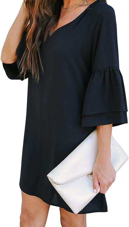 Women's V-Neck Bell Sleeve Mini Dress