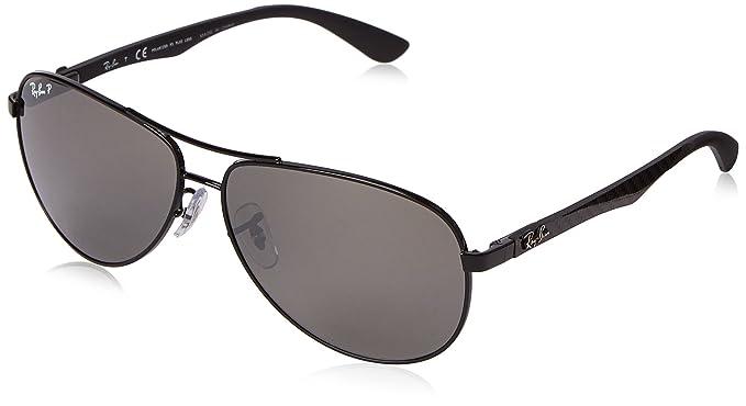 Ray-Ban Carbon Fibre Gafas de sol, Aviador, Polarizadas, 61, Negro (marco: negro, lentes: espejo polarizado gris 002 / K7)