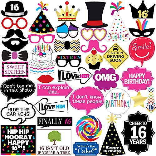 16th Birthday Photo Booth Party Props - 40 Pieces - Funny Sweet Sixteen Birthday Party Supplies, Decorations and Favors