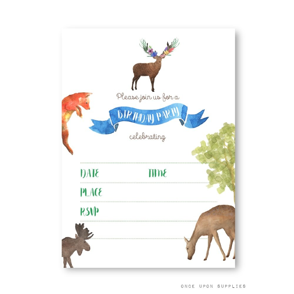 Woodland Forest Animals Birthday Party Invitations, Featuring Deer, Moose, Fox and Watercolor Design Elements, by Once Upon Supplies, 5x7'', Set of 20, Fill in Style Flat Cards, With Envelopes