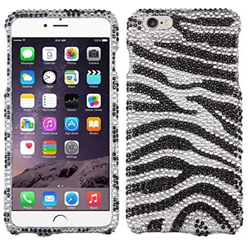 (Insten Zebra Rhinestone Diamond Bling Hard Snap-in Case Cover Compatible with Apple iPhone 6 Plus/6s Plus, Black/White)