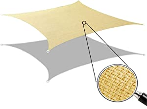 GLORYA Shade Sail - 10' x 12' Rectangle UV Block Shade Cloth - Water & Air Permeable Awning - Permeable Canopy Pergolas Top Cover for Outdoor Patio Garden Sand Color
