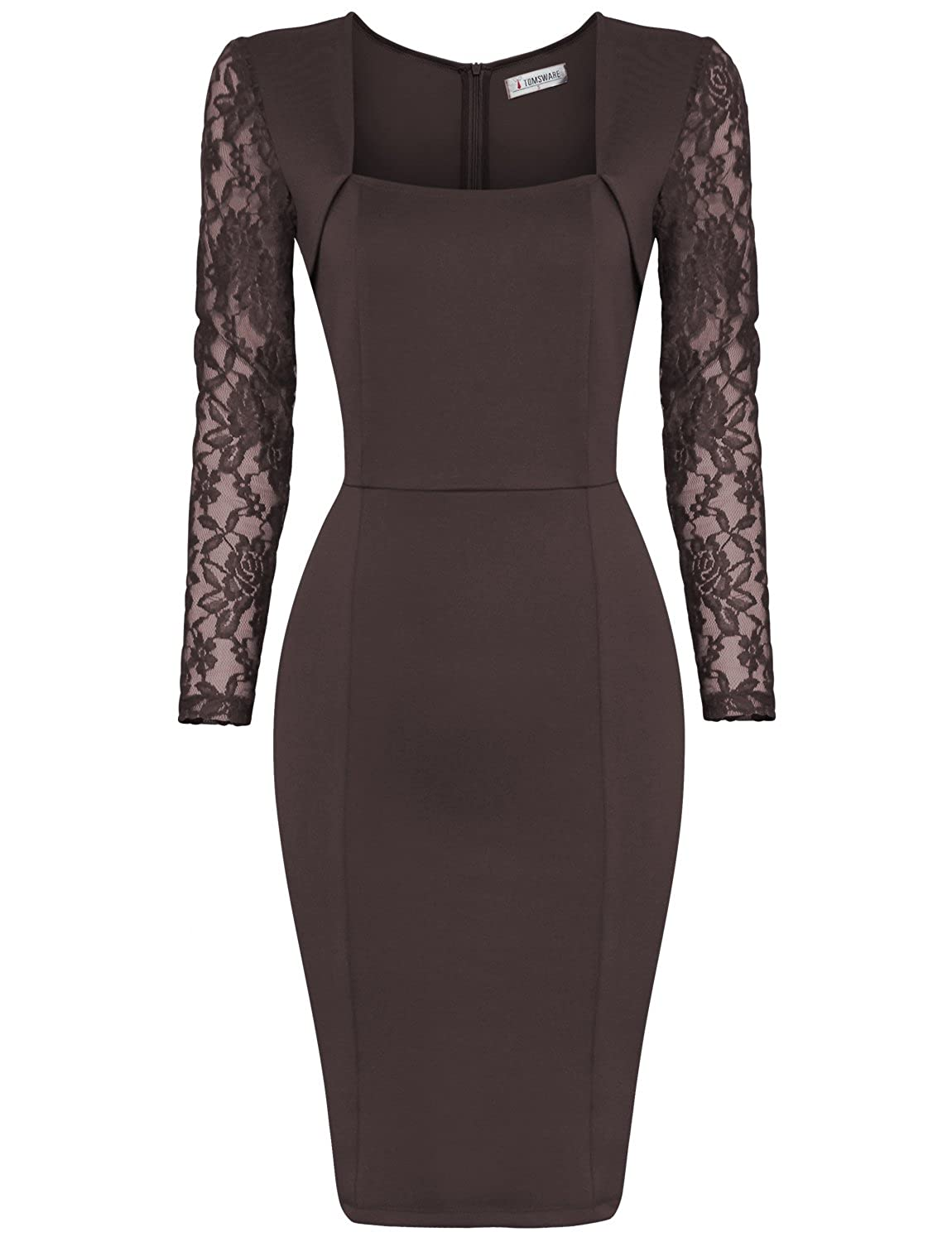 Tom's Ware Damen stilvolles Bodycon-Midi-Kleid langaermlig