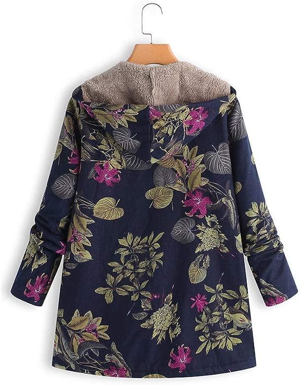 JUNMAONO Abrigo Invierno Mujer Chaqueta Suéter Jersey Cardigan Mujer Tallas Grandes Outwear Floral Bolsillos con Capucha de Impresión Caliente ...