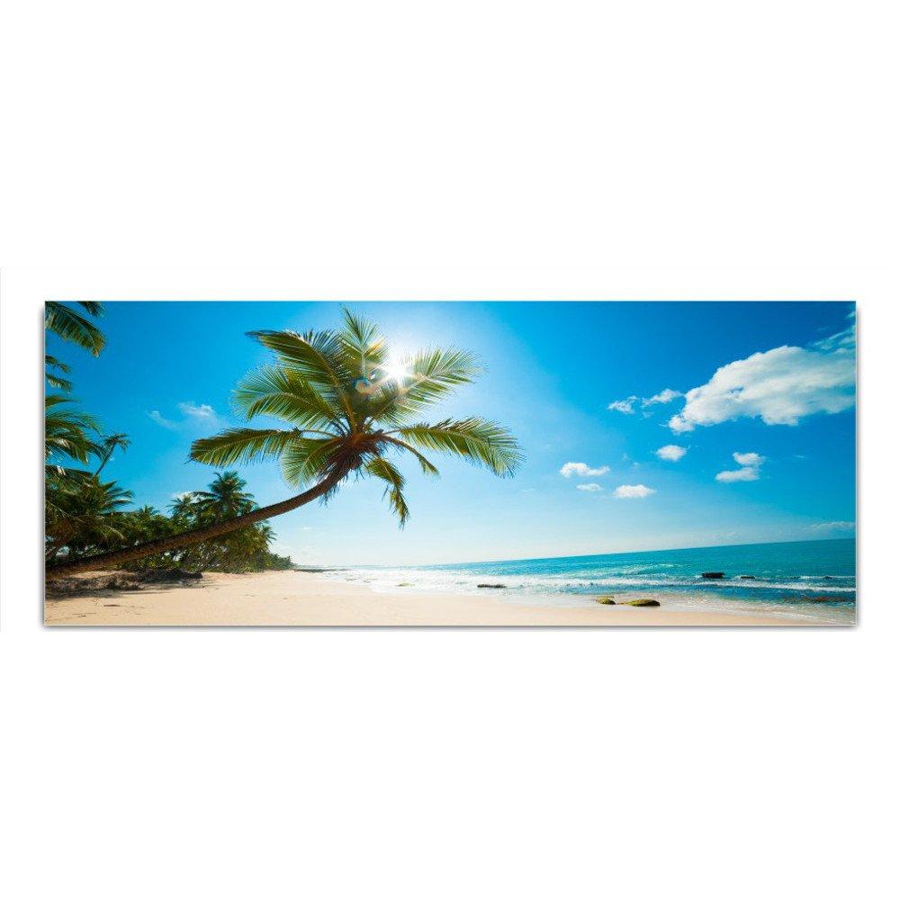 DekoGlas Glasbild 'Palme Strand Meer' Echtglas Bild Küche, Wandbild Flur Bilder Wohnzimmer Wanddeko, einteilig 125x50 cm