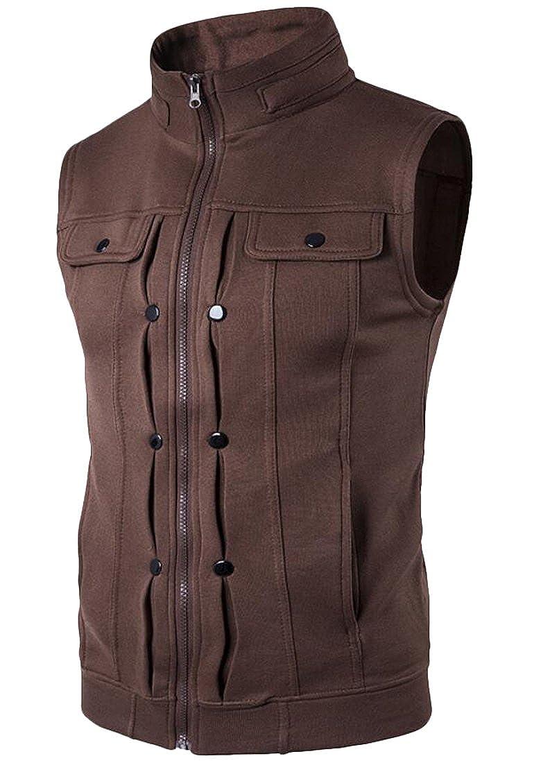 UUYUK Mens Casual Full-Zip Sleeveless Stand Collar Vest Jacket