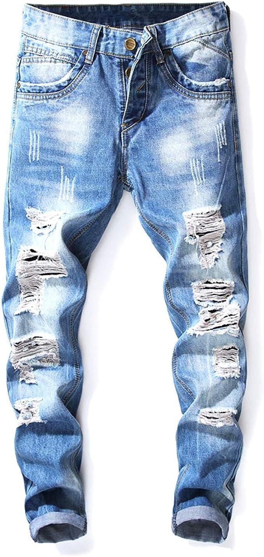 CRYYU Men Distressed Straight Leg Ankle Length Plus Size Jeans Denim Pants