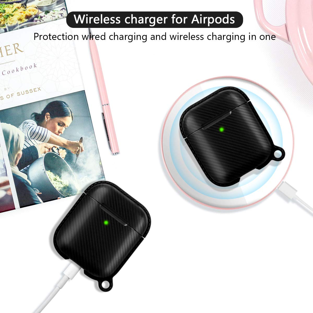 etasche AirPods Case Cover Full Protective Skins Cover [Front LED Visible & Supports Wireless Charging] Compatible with Apple Airpods 2&1