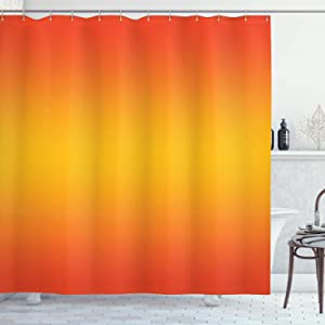 Ambesonne Ombre Shower Curtain, Tropical Sunset Seasons of The Year Inspired Summer Themed Design Modern, Cloth Fabric Bathroom Decor Set with Hooks, 70