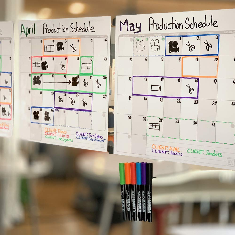 mcSquares Stickies Dry Erase Calendar & To Do List - Sticks to Stainless Steel (Any Smooth Surface) - Monthly Whiteboard for Refrigerator, Mirror, Desk, Door, Window - Smudge-Free Markers Included by mc squares (Image #5)