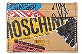 Moschino women's genuine leather credit card case holder wallet brown