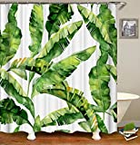 Shower Curtain Set with 12 Hooks Tropical Plant Banana Leaf Print Bath Curtain Summer Theme Decorations Fabric Home Curtain Mildew Resistant Machine Washable Privacy Curtain, 72 X 72 inch, Green