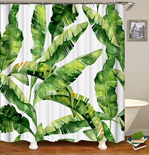 Shower Curtain Set with 12 Hooks Tropical Plant Banana Leaf Print Bath Curtain Summer Theme Decorations Fabric Home Curtain Mildew Resistant Machine Washable Privacy Curtain, 72 X 72 inch, Green by Livilan
