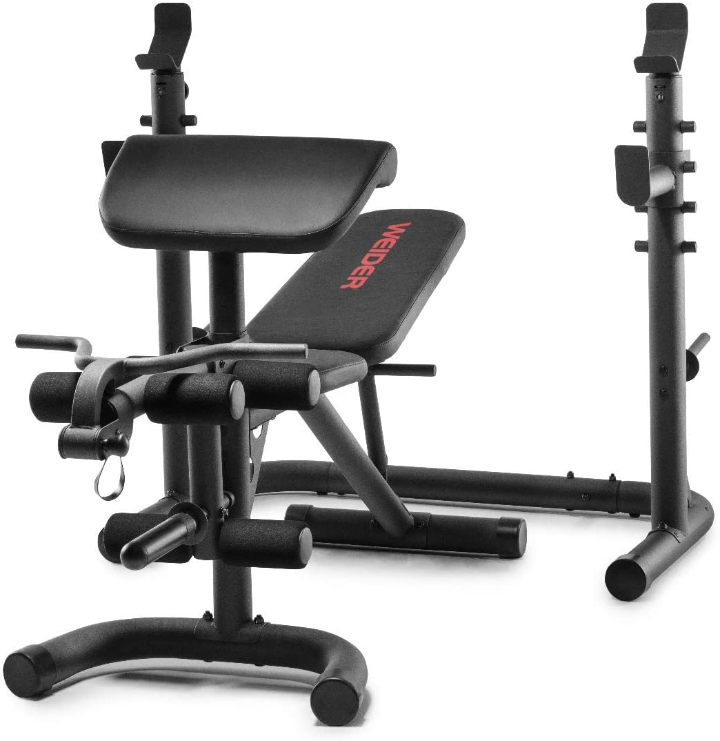 Amazon Com Weider Xrs 20 Olympic Workout Bench With Independent Squat Rack And Preacher Pad Sports Outdoors